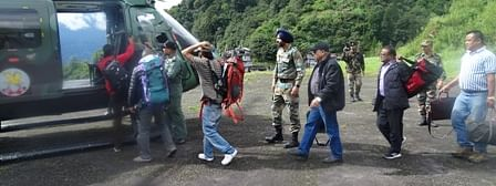 Tourists being rescued from landslides-hit North Sikkim on Monday