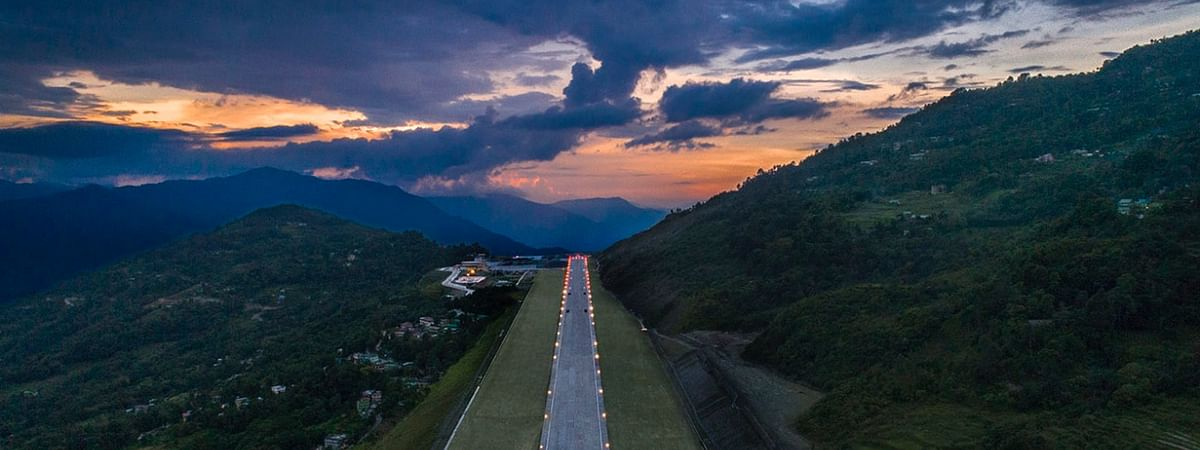 An aerial view of Sikkim's new Pakyong Airport