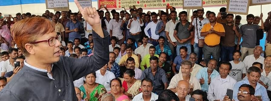 BJP MLA Shiladitya Dev at a demonstration near the state capital complex in Dispur on Monday