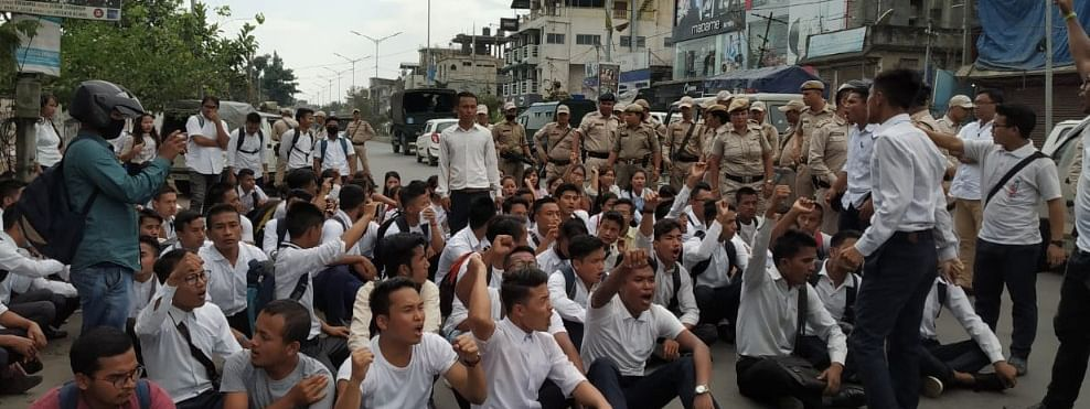 Students of Manipur University stage protest to press for their demands
