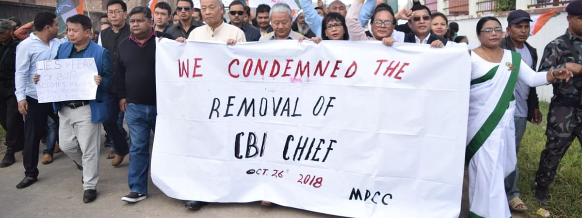 Former Chief Minister O Ibobi Singh led the protest against the CBI move, in Imphal on Friday