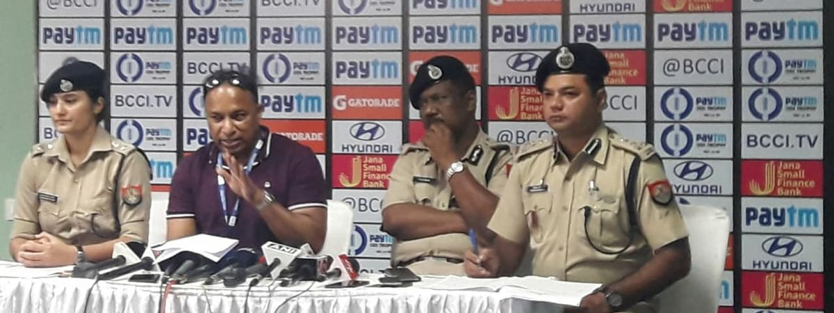 Assam Cricket Association and Assam Police officials briefing media persons on security arrangements in Guwahati ahead of India-West Indies ODI, on Saturday