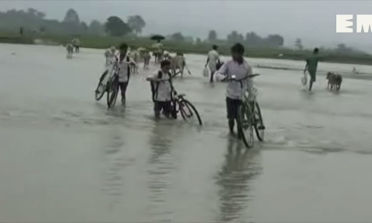 Assam: Here, kids wade through swollen river to reach school daily