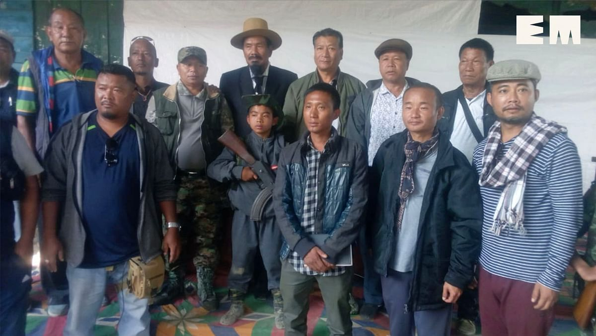 NSCN-K leader Khango Konyak poses with villagers during his visit to the area in Mon district of Nagaland
