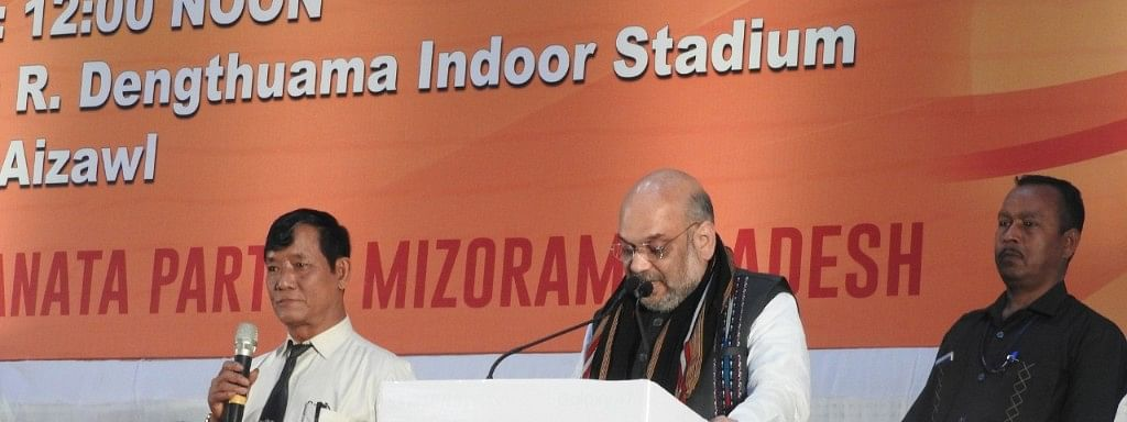 BJP president Amit Shah addressing booth-level workers at the R Dengthuama Indoor Stadium in Aizawl on Wednesday