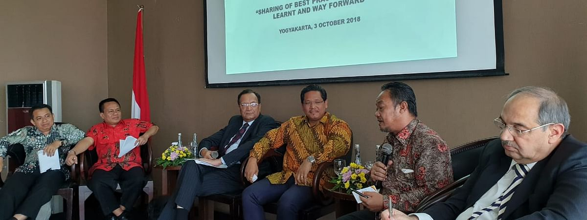 Meghalaya CM Conrad K Sangma along with other dignitaries at the first Indonesia-India Interfaith Dialogue being held in the Indonesian island of Java