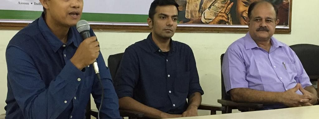 (From left) Rituraj Phukan, environmentalist and secretary general, Green Guard Nature Organization; Saurav Malhotra, designer-rural futures, Balipara Foundation; and Dr KK Sarma, head, Assam Agricultural University, at a media gathering in Guwahati on Tuesday