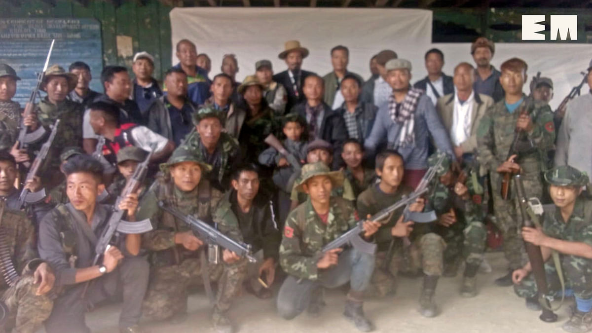 NSCN-K leader Khango Konyak along with other members of the militant group