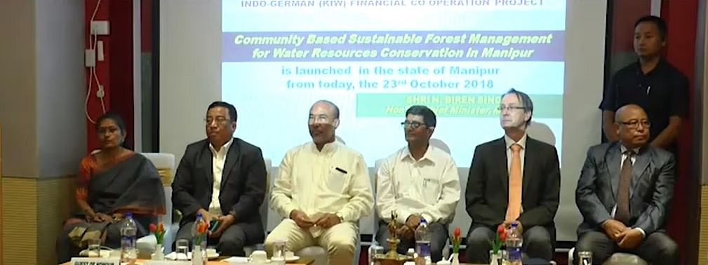 Manipur CM N Biren Singh at the inauguration of the multi-crore water resource conservation project in Imphal