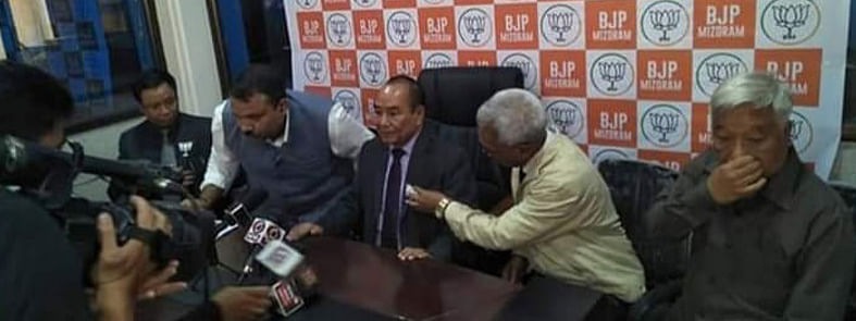 Pu Hiphei (centre) addressing the media at the BJP office in Mizoram