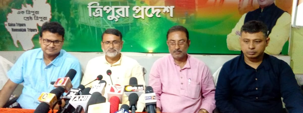 BJP members holding a press conference to congratulate the 10,323 teachers who got an extension in service for another two years