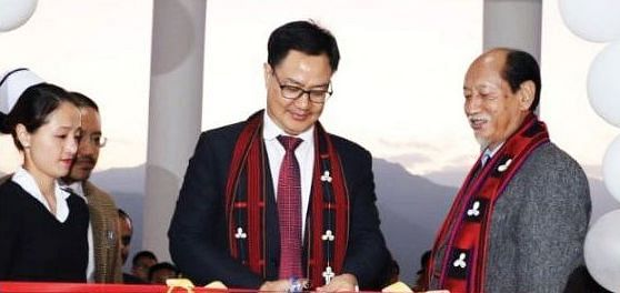 Union minister of state for home Kiren Rijiju with Nagaland CM Neiphiu Rio at the inauguration of the upgraded district hospital in Kiphire