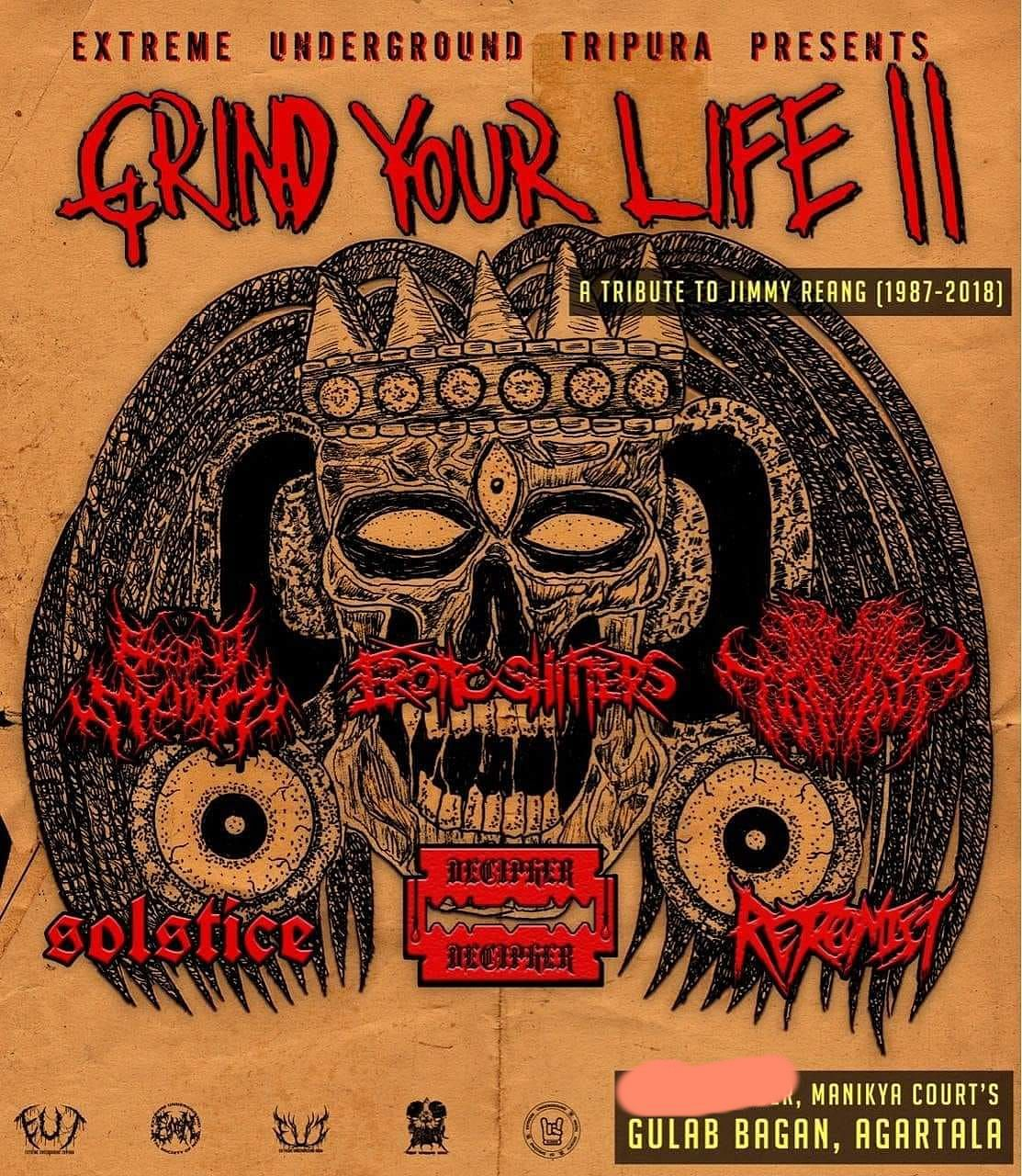 Extreme Underground Tripura's 'Grind Your Life II' will be held at Manikya's Court, Gulab Bagan, Agartala on November 13