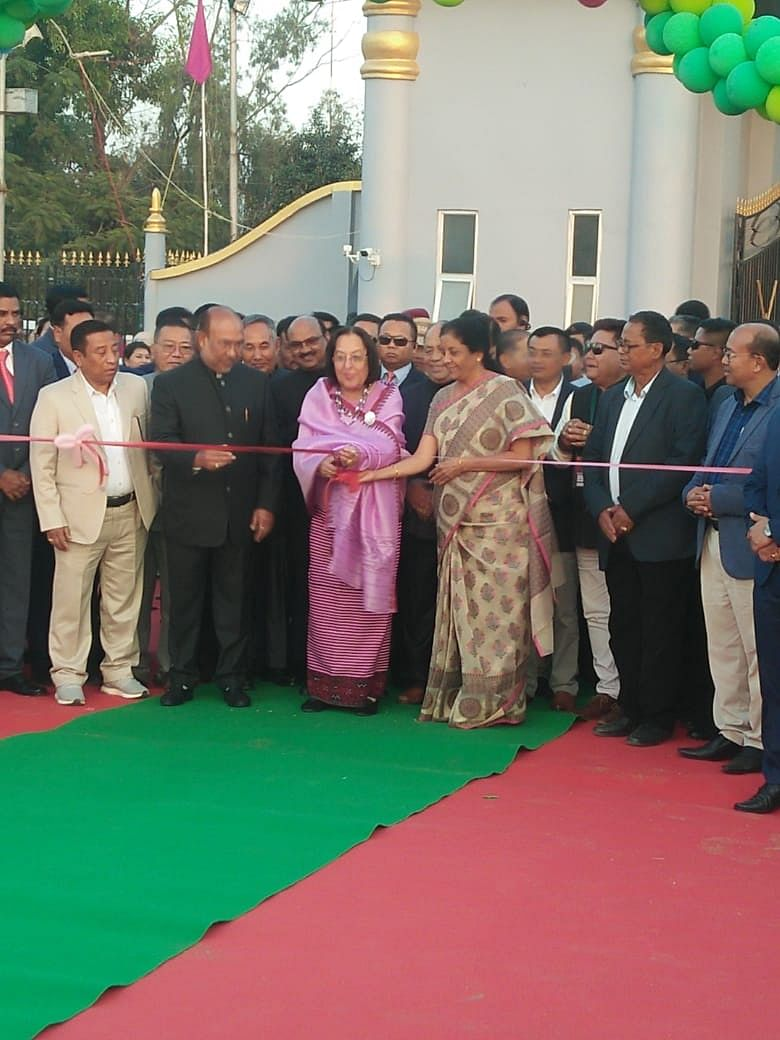 Union defence minister Nirmala Sitharaman with Manipur chief minister N Biren Singh and Governor Najma Heptulla