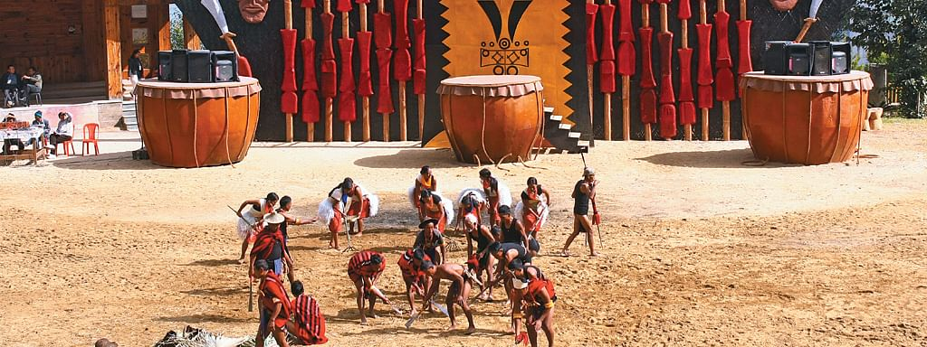 The popular Hornbill Festival is held at Naga Heritage Village in Kisama, which is about 12 km from Kohima, in Nagaland every year