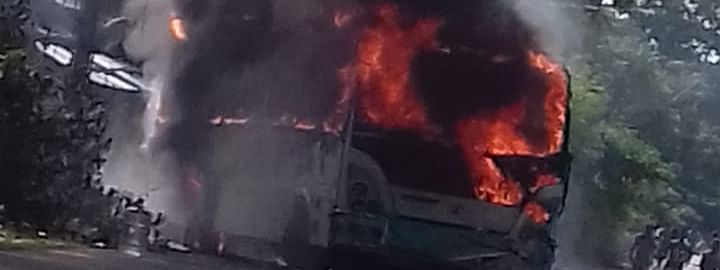 The ill-fated bus that caught fire in Baksa on Saturday morning