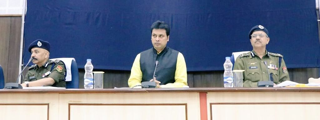 CM Biplab Kumar Deb at a meeting with senior officers of the state police department