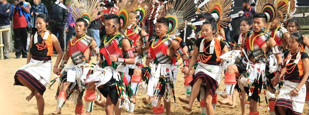 A traditional dance being performed as part of Hornbill Festival in Kohima, Nagaland