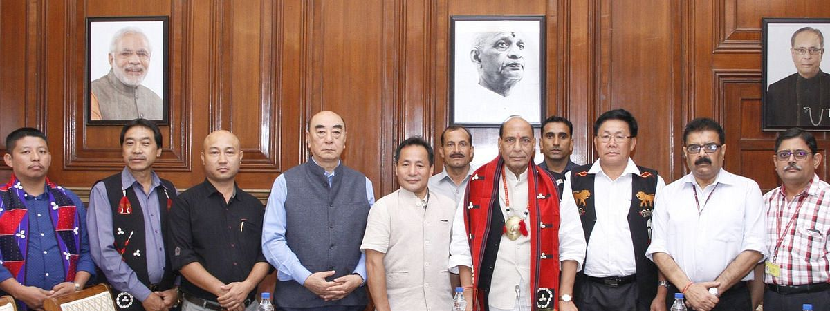 Union home minister Rajnath Singh with representatives Eastern Nagaland People's Organisation (ENPO) in 2015