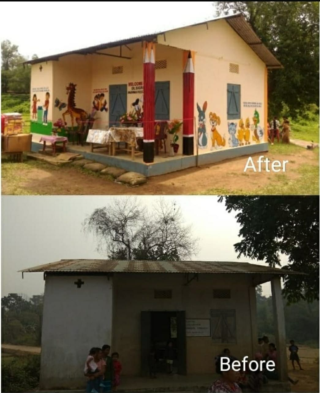 The anganwadi centre near the Songadinggre Lower Primary School in Dadenggre in Meghalaya's West Garo Hills, as it looked before and after the renovation