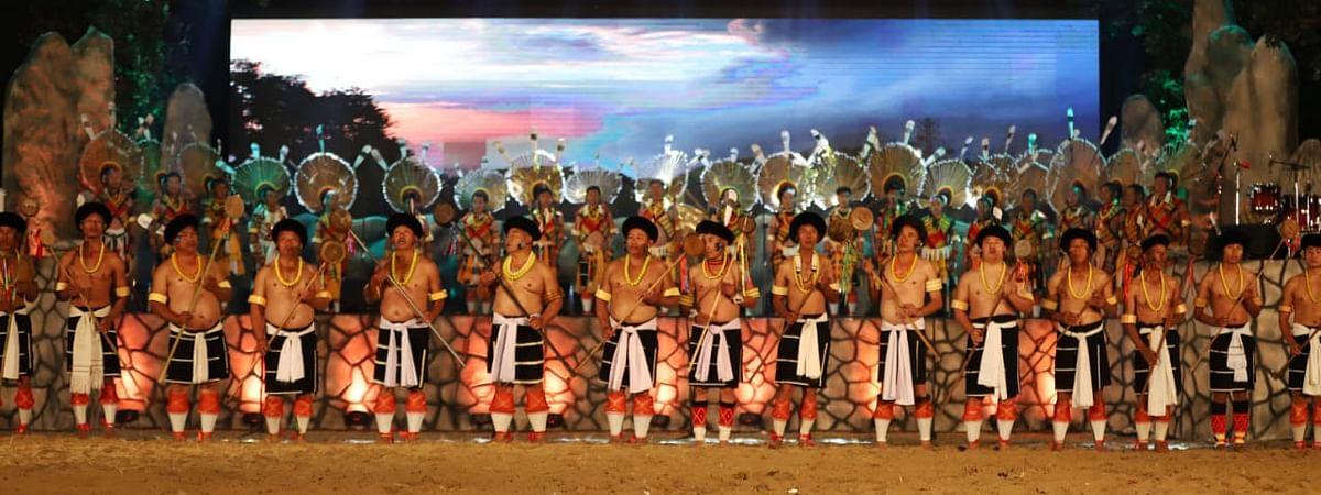 Artistes perform traditional dances of various tribes in Nagaland during the festival