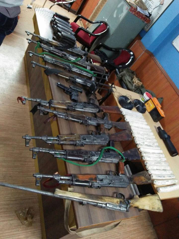 Nine AK-47 rifles, one nine mm pistol, 500 rounds of ammunition and bomb making materials that were allegedly recovered by the police, as announced at a press meet held in Darjeeling on October 13, 2107