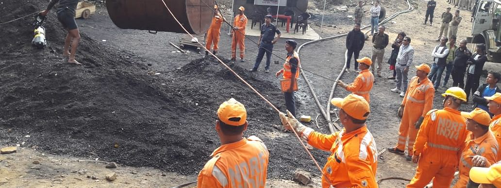 Rescue operation  to flush out the 14 labourers from the illegal mine in East Jaintia Hills