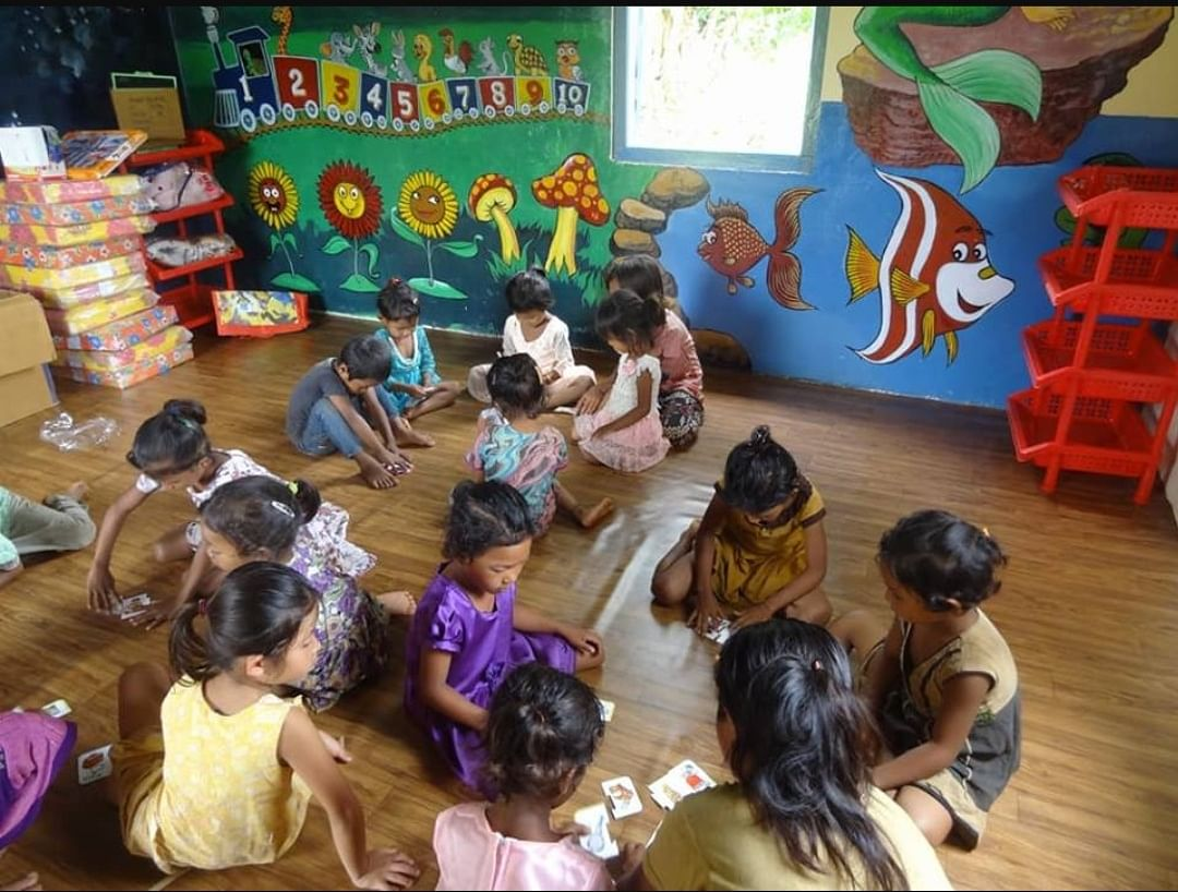 Children playing at the renovated anganwadi centre near the Songadinggre Lower Primary School located in Dadenggre in Meghalaya's West Garo Hills