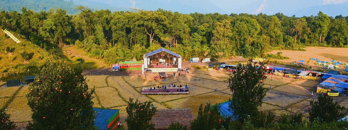 The venue of the orange festival in Dambuk in Arunachal Pradesh