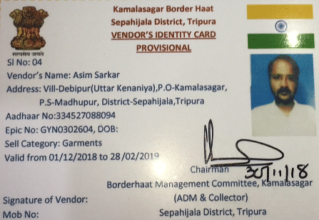 Asim Sarkar, deputy pradhan of Debipur panchayat, is one of the 49 people who were given new vendor ID cards for the Kamalasagar border haat in Tripura on Saturday