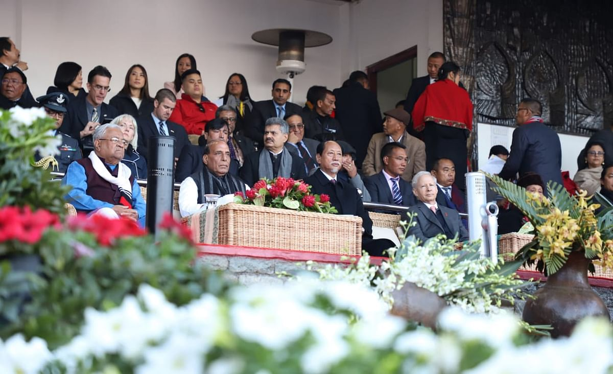 Union home minister Rajnath Singh, Nagaland governor PB Acharya, Nagaland CM Neiphiu Rio and other dignitaries during the inauguration of Hornbill Festival on Saturday