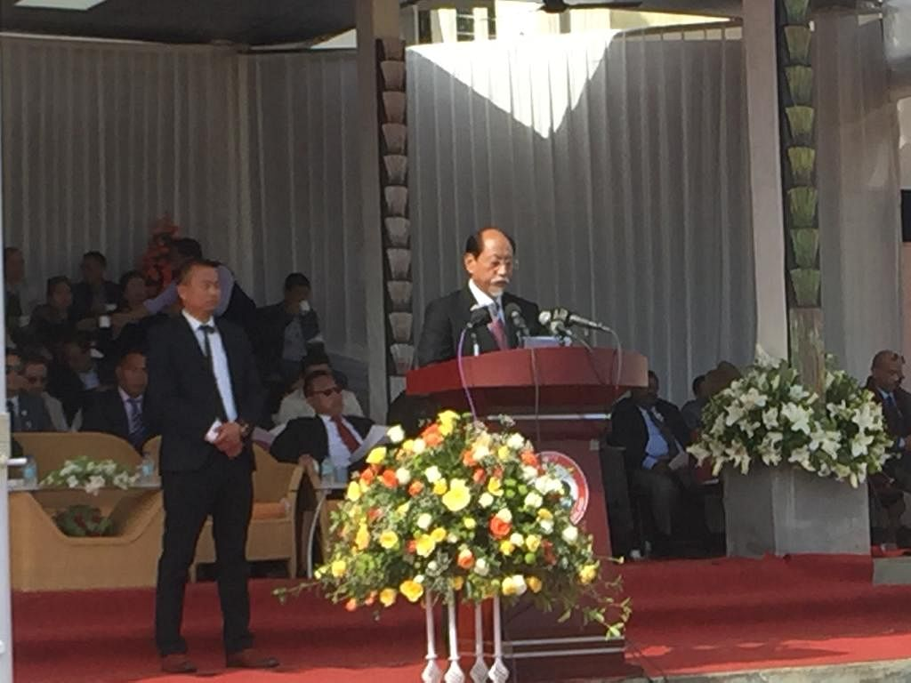 Nagaland CM Neiphiu Rio addressing the gathering in Kohima on Saturday