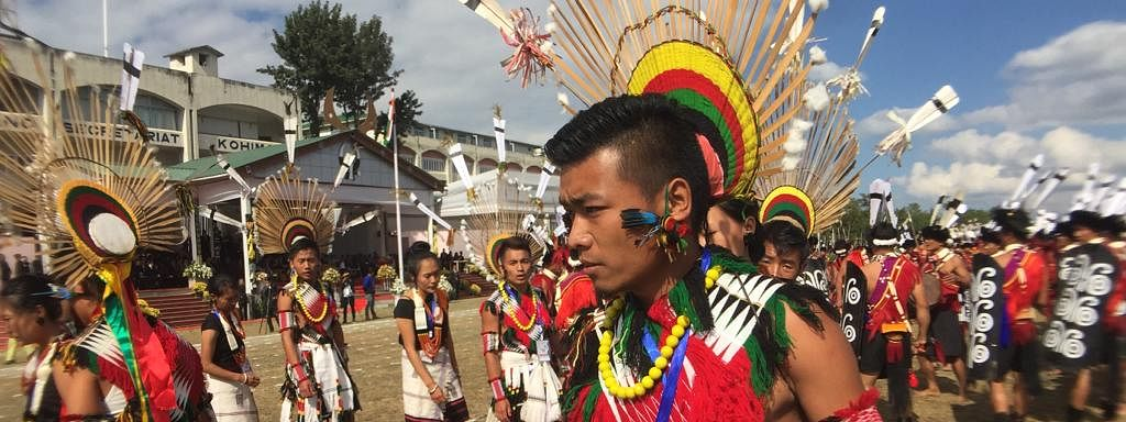 Naga traditional performers during the Statehood Day celebrations on Saturday