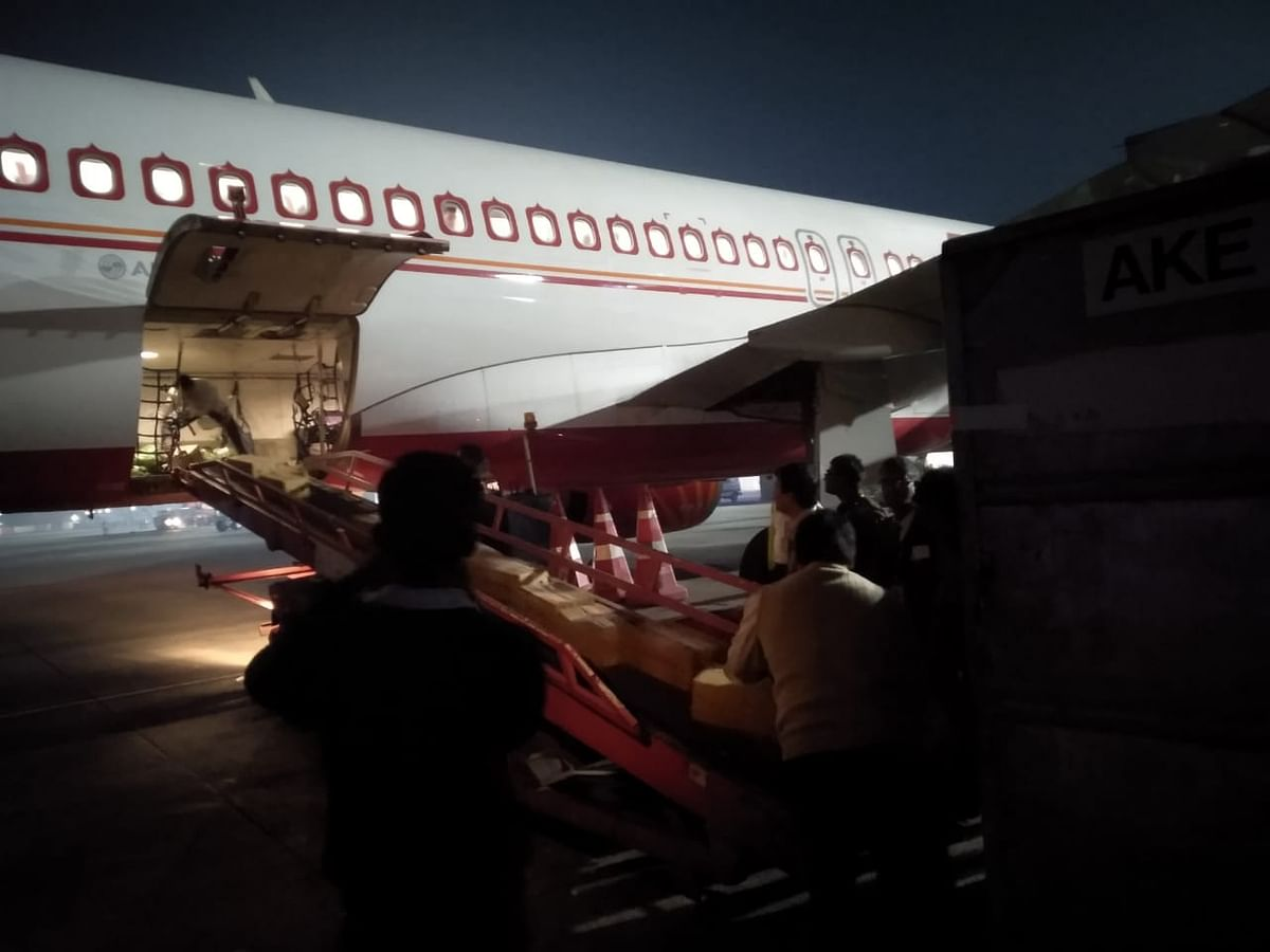 Fresh vegetables being loaded on to a cargo aircraft at the Lokpriya Gopinath Bordoloi International Airport in Guwahati, Assam last month to be sent to Dubai