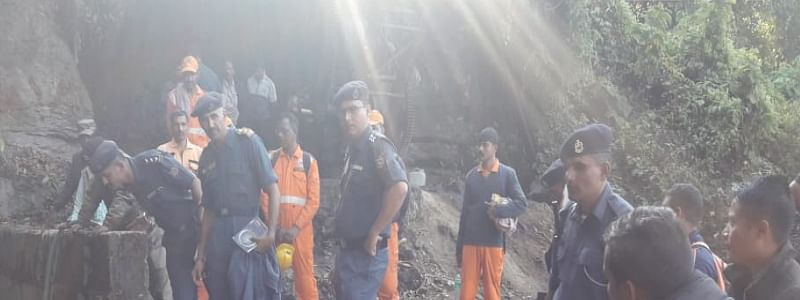 Rescue operations underway at the illegal coal mine in East Jaintia Hills in Meghalaya