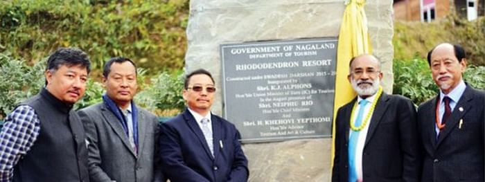 Union tourism minister Alphons KJ with Nagaland CM Neiphiu Rio at the inauguration of the rhododendron resort in Kohima on Wednesday