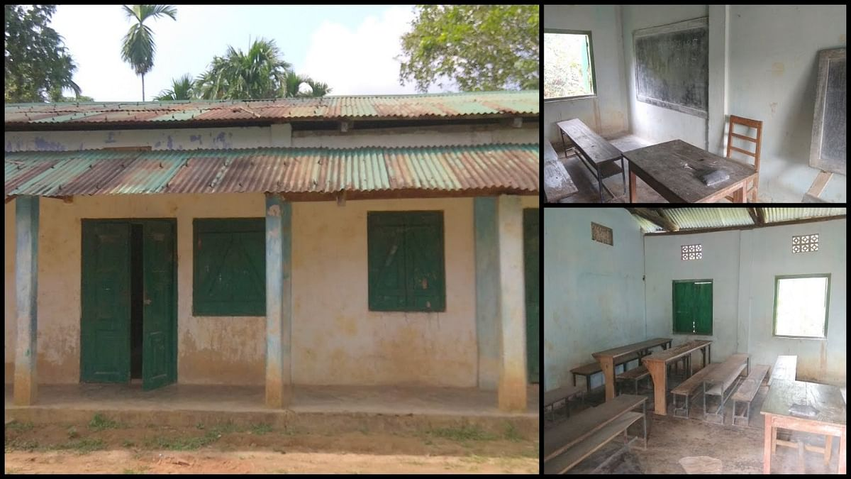 The Songadinggre Lower Primary School located in Dadenggre in Meghalaya's West Garo Hills before being renovated