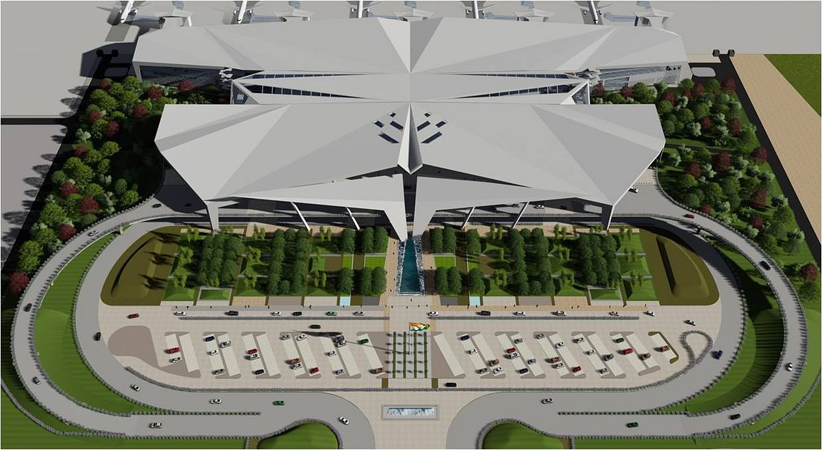 A 3D model of the proposed integrated terminal at Guwahati Airport