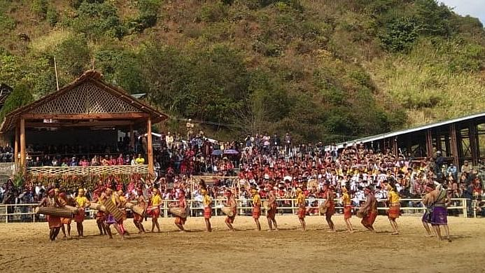 Artistes performing a traditional dance at the Hornbill Festival