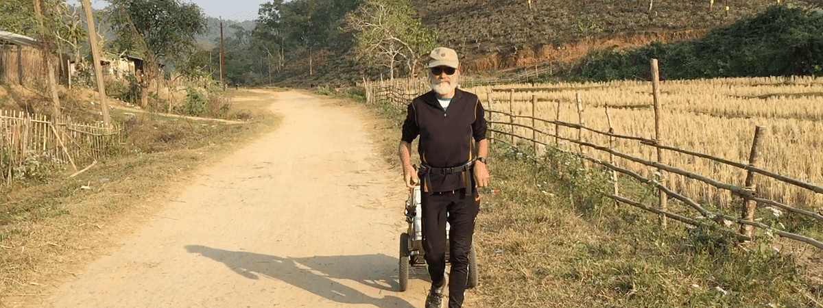 68-year-old Jacob Kuno is from Germany and his mission is to travel the world on foot