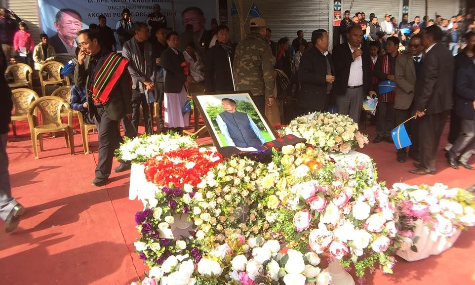 People paying tribute to Khole Konyak in Kohima on Saturday