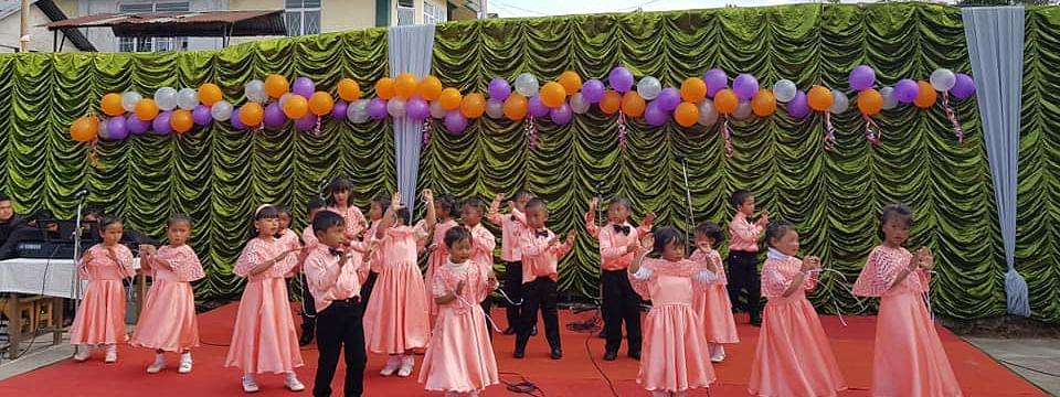 Studentsw performing at the silver jubilee celebration of Rev Thomas Jerman Jones Presbyterian School in Mawphlang, East Khasi Hills