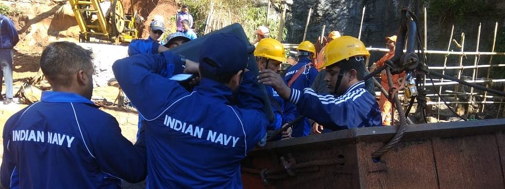 Indian Navy divers prepare to enter the ill-fated coal mine in East Jaintia Hills, Meghalaya