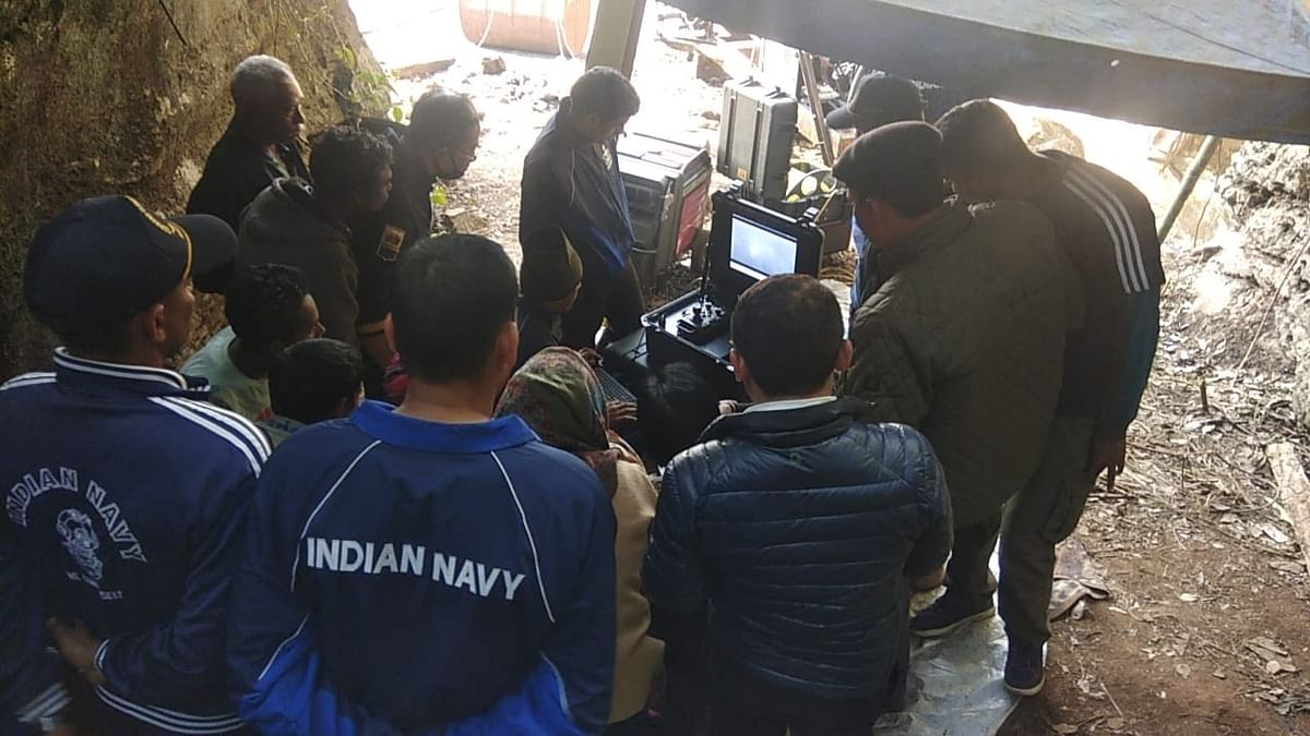 Family members of five of the 15 miners trapped inside the illegal coal mine in East Jaintia Hills trying to identify the body that was detected by Navy divers on Wednesday evening