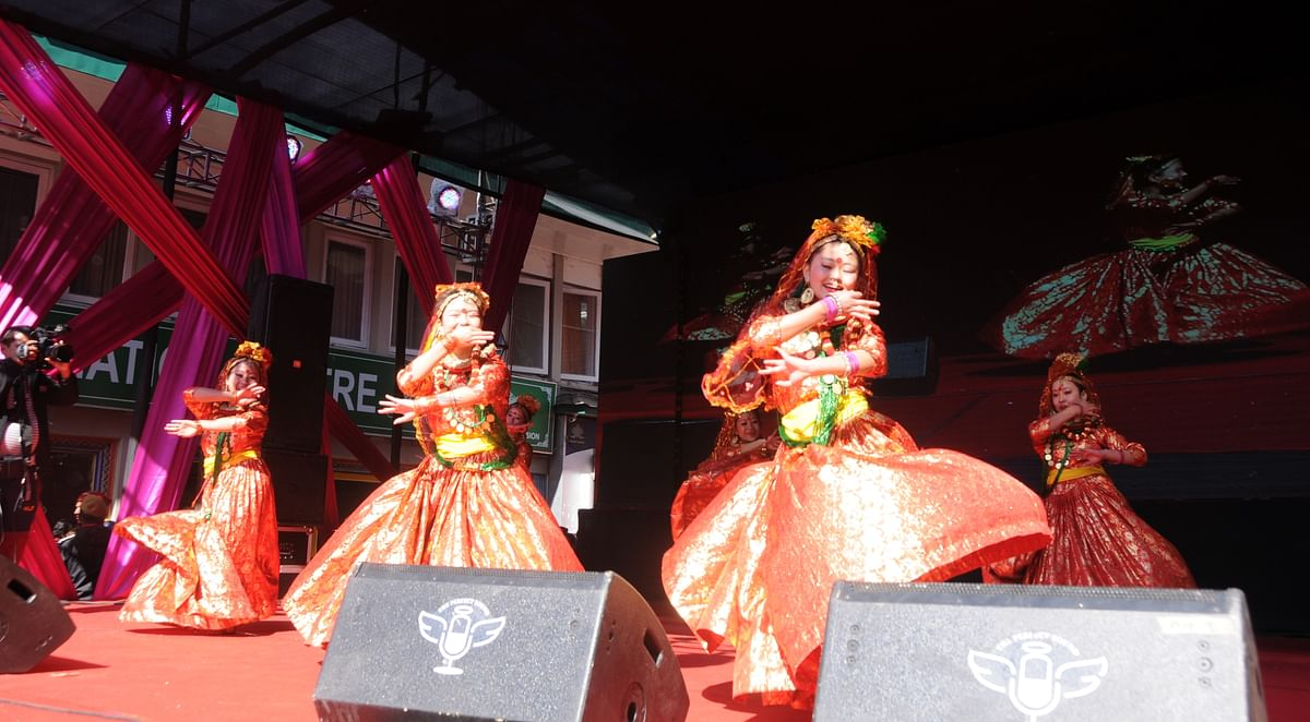 Traditional dancers performing at the inauguration ceremony of the Red Panda Winter Carnival in Gangtok, Sikkim on Thursday