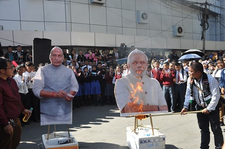 Effigies of Prime Minister Narendra Modi and Union home minister Rajnath Singh were burnt by protesters on Wednesday