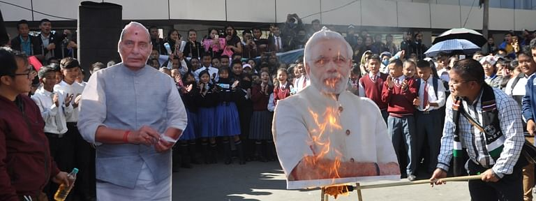 Effigies of Prime Minister Narendra Modi and Union home minister Rajnath Singh were burnt by protesters during protests against Citizenship (Amendment) Bill