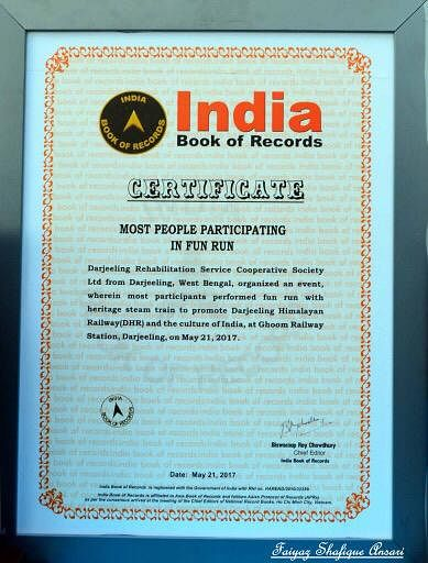 The DHR previously booked its name in the India Book of Records in 2017 for 'Most people participating in the fun run'