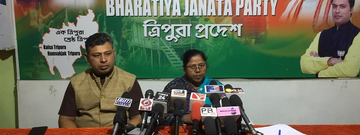 Tripura BJP general secretary Pratima Bhowmik was addressing the media.