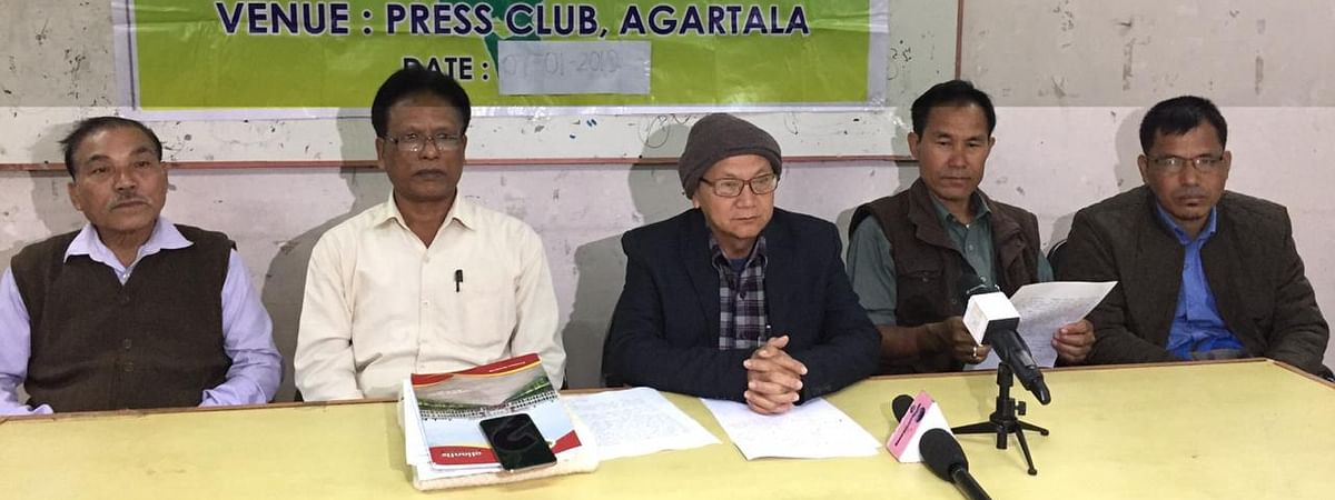 The party leaders address press conference in Agartala on Monday.